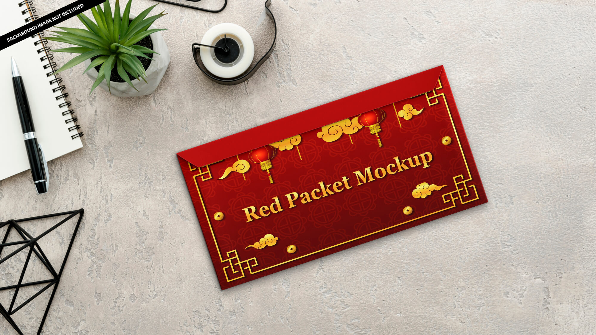 Free Red Packet Mockup PSD Template 1
