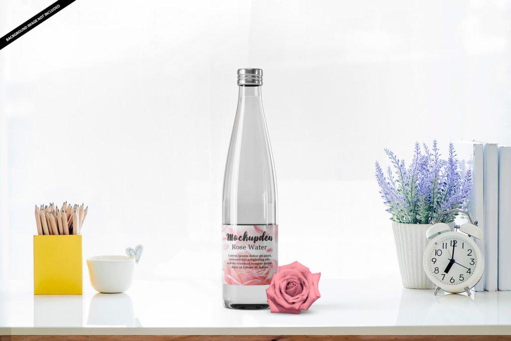 Free Rose Water Bottle Mockup PSD Template