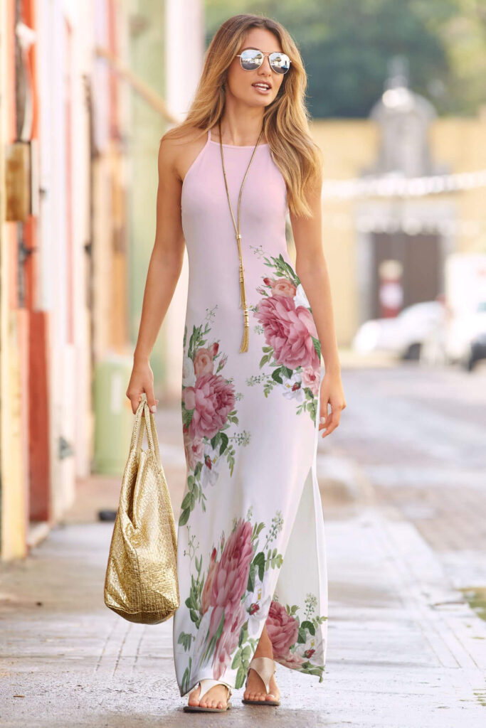 High Neck Maxi Dress Mockup PSD Template
