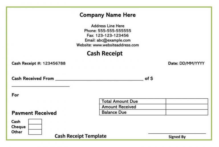 printable cash receipt
