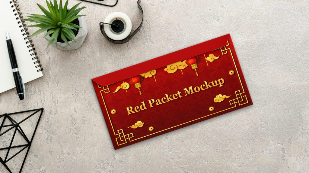 Free Red Packet Mockup PSD Template