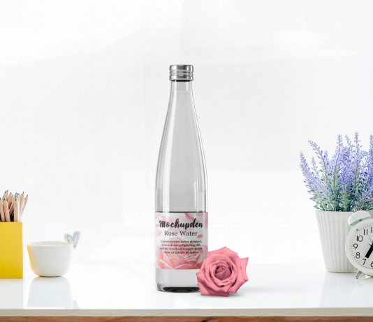 Free Rose Water Bottle Mockup PSD Template