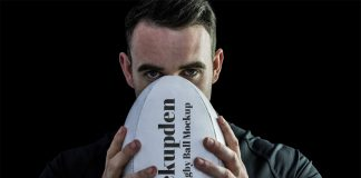 Free Rugby Ball Mockup PSD Template