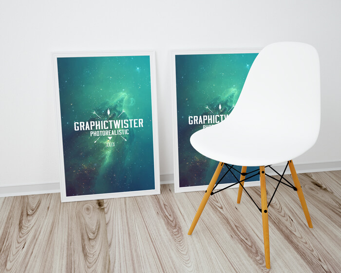 Minimal Poster Frame on the Floor Template