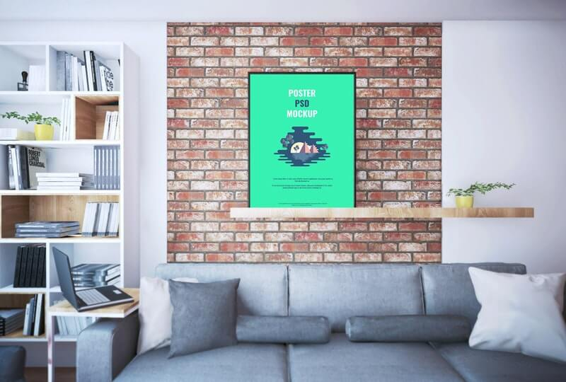 Large Poster on Shelf Graphic Mockup