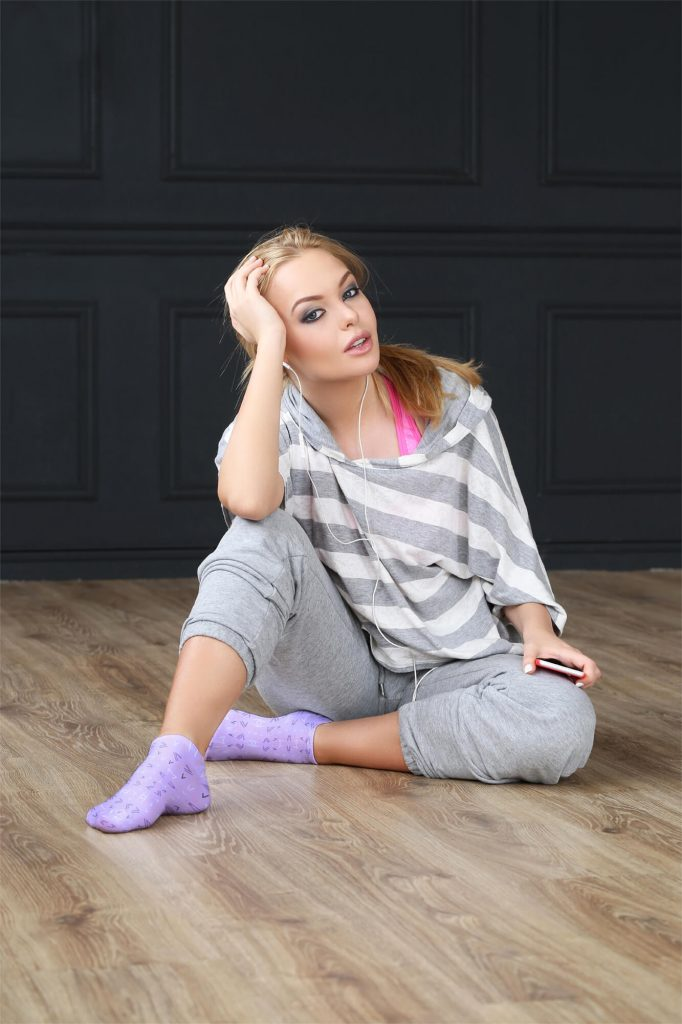 A Girl wearing a sock mockup set