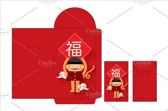 Red Packet With Monkey Image PSD