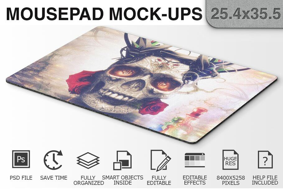 Normad Skull mouse pad mockup