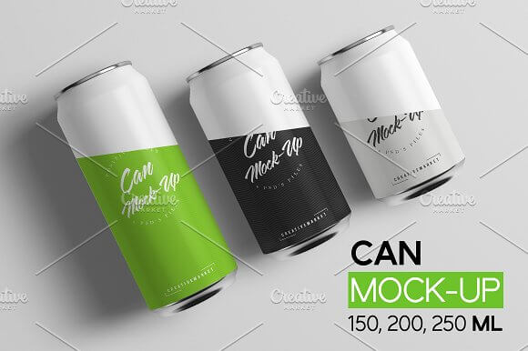 3 Different Perspective Soda Can Mockup