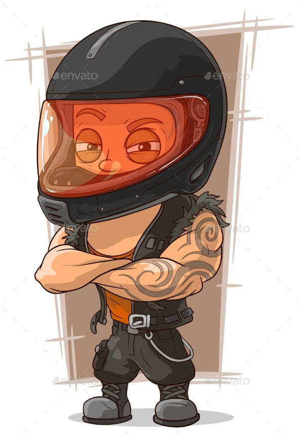 A Cool Man Wearing A Motorcycle Helmet Vector Illustration