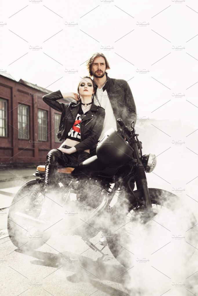 A Couple Is Standing Near A Motorcycle PSD Mockup