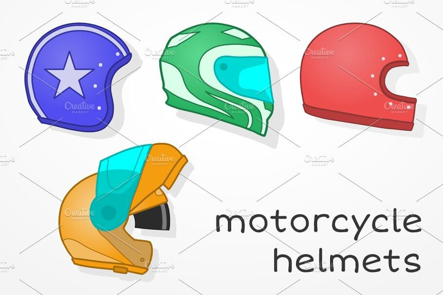 A Set Of Different Designed Motorcycle Helmet Vector