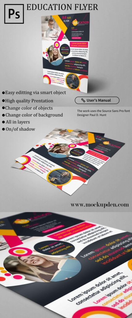Free Education Flyer Mockup PSD Template