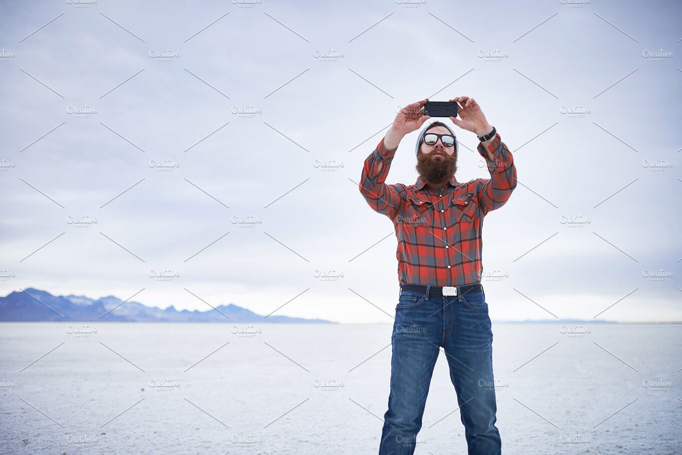 Alone Man Taking Selfie In A Cold Place PSD Mockup