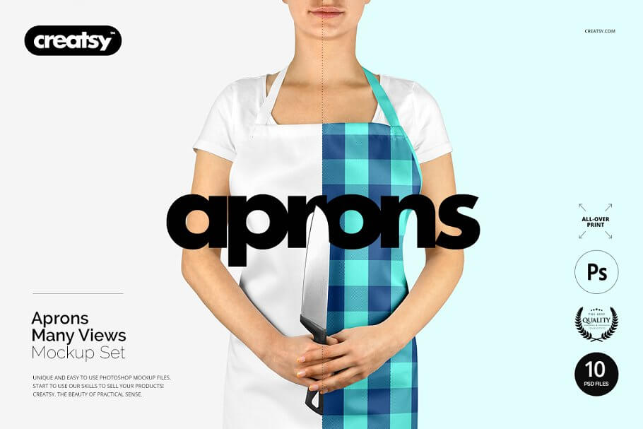 Apron With different Perspective View Mockup