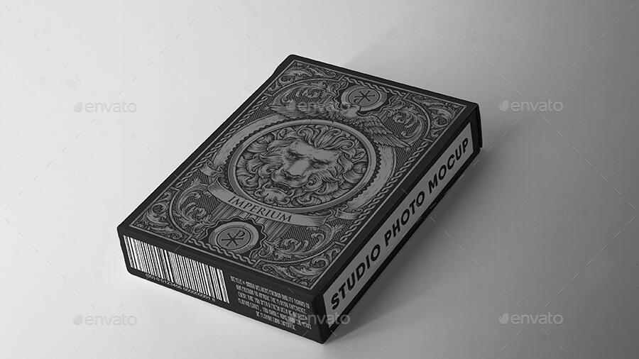 BLACK PLAYING CARDS DESK PSD in Customizable Background