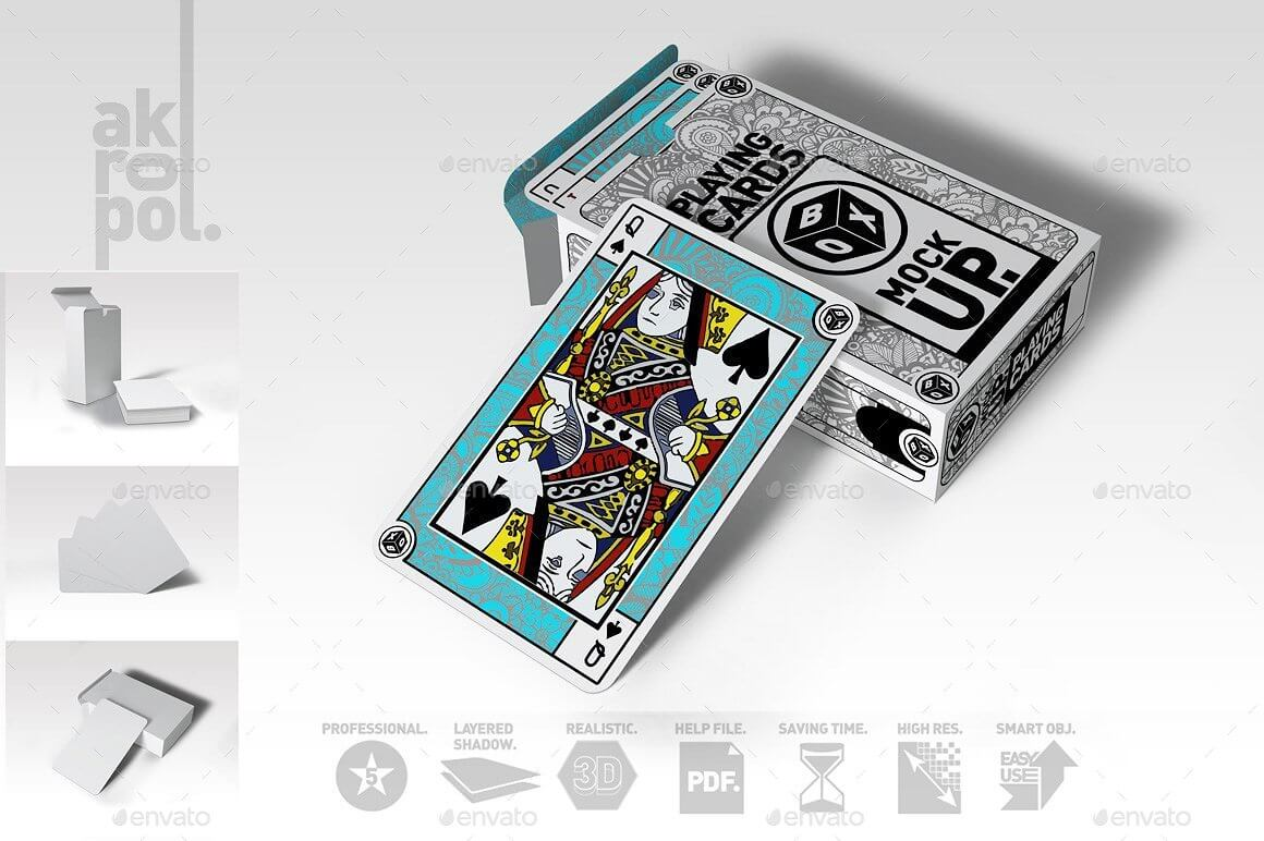 BLUE PLAYING CARDS MOCKUP