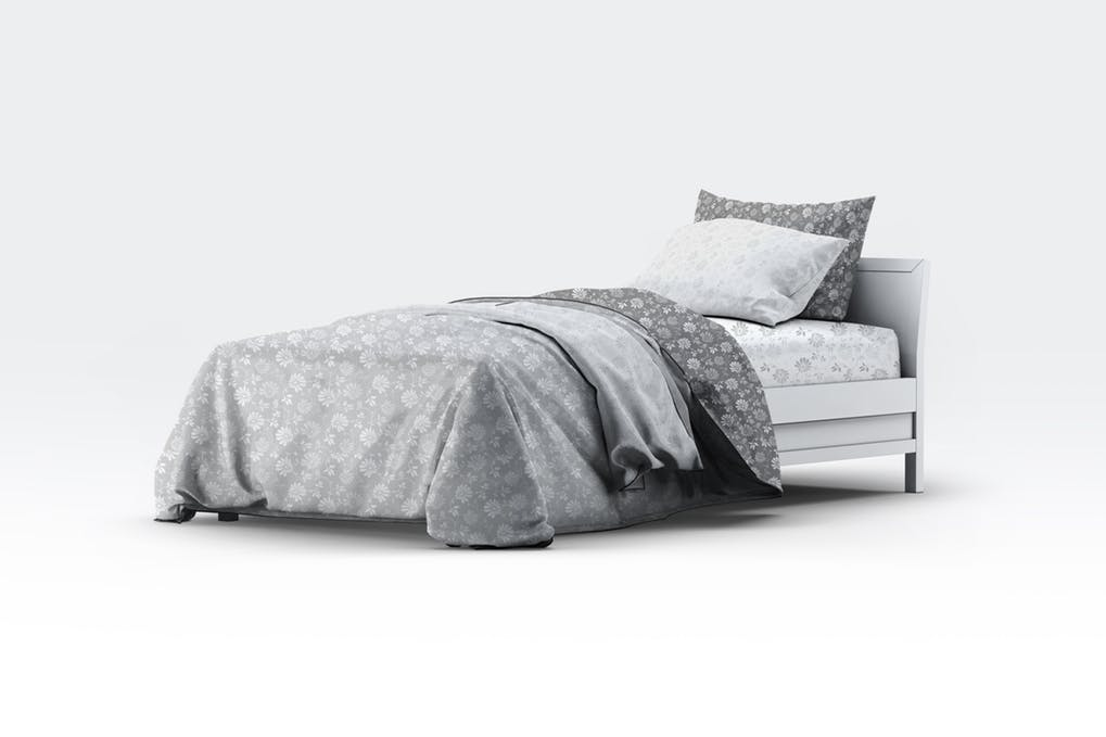 Bed containing 2 different cushion Designs PSD