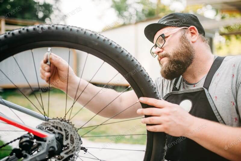 Bicycle Mechanic In Apron Template