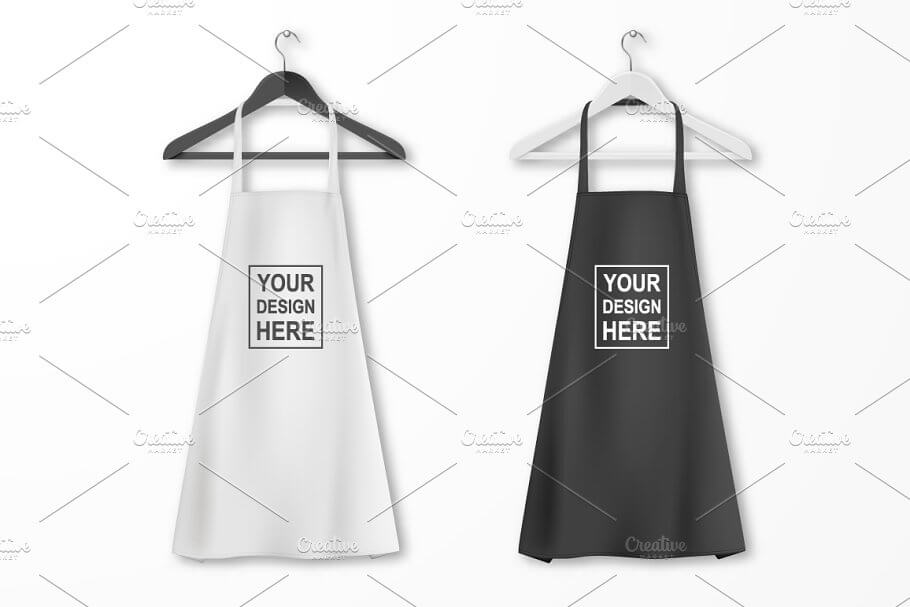 Black And White Apron On A Hanger Mockup