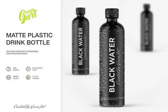 Black Matte Drinking Water Bottle PSD Mockup
