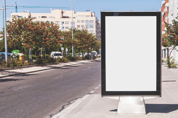 Blank Poster On The Street Mockup