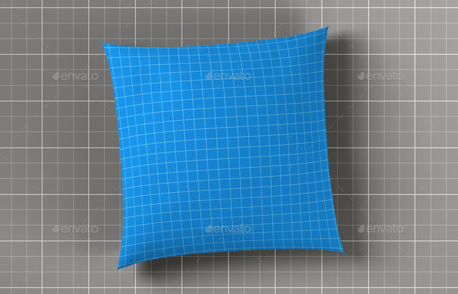 Blue Checked Cushion Design Mockup