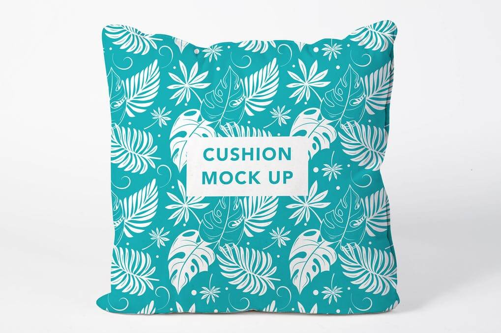 Blue Cushion With Printed Leaves Mockup