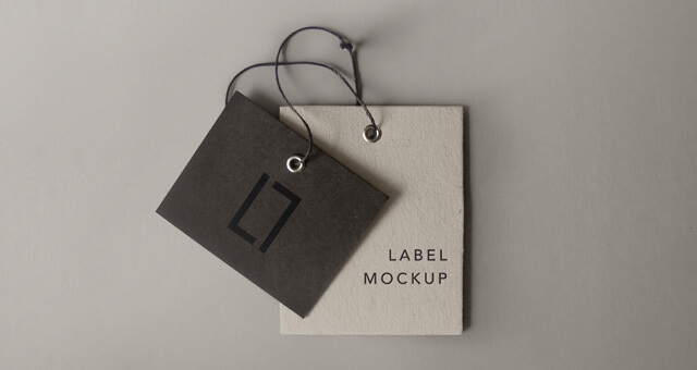 Brown And White Color Tag Mockup