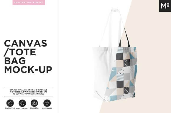 Canvas Printed On Tote Bag PSD Template