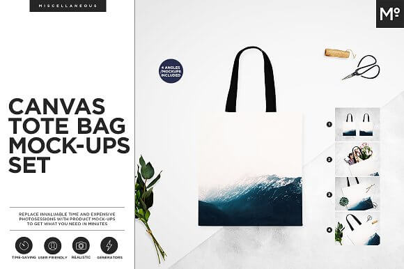 Canvas Tote Bag PSD Design Mockup