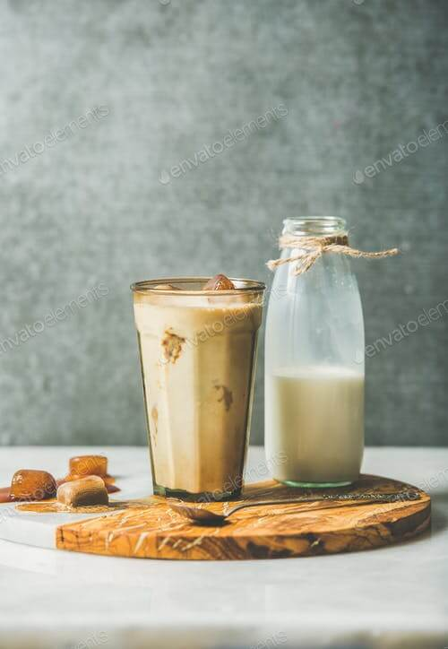 Caramel Latte Coffee Cocktail With A Milk Bottle PSD Mockup