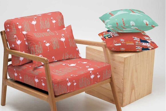 Chair containing cushions PSD Mockup