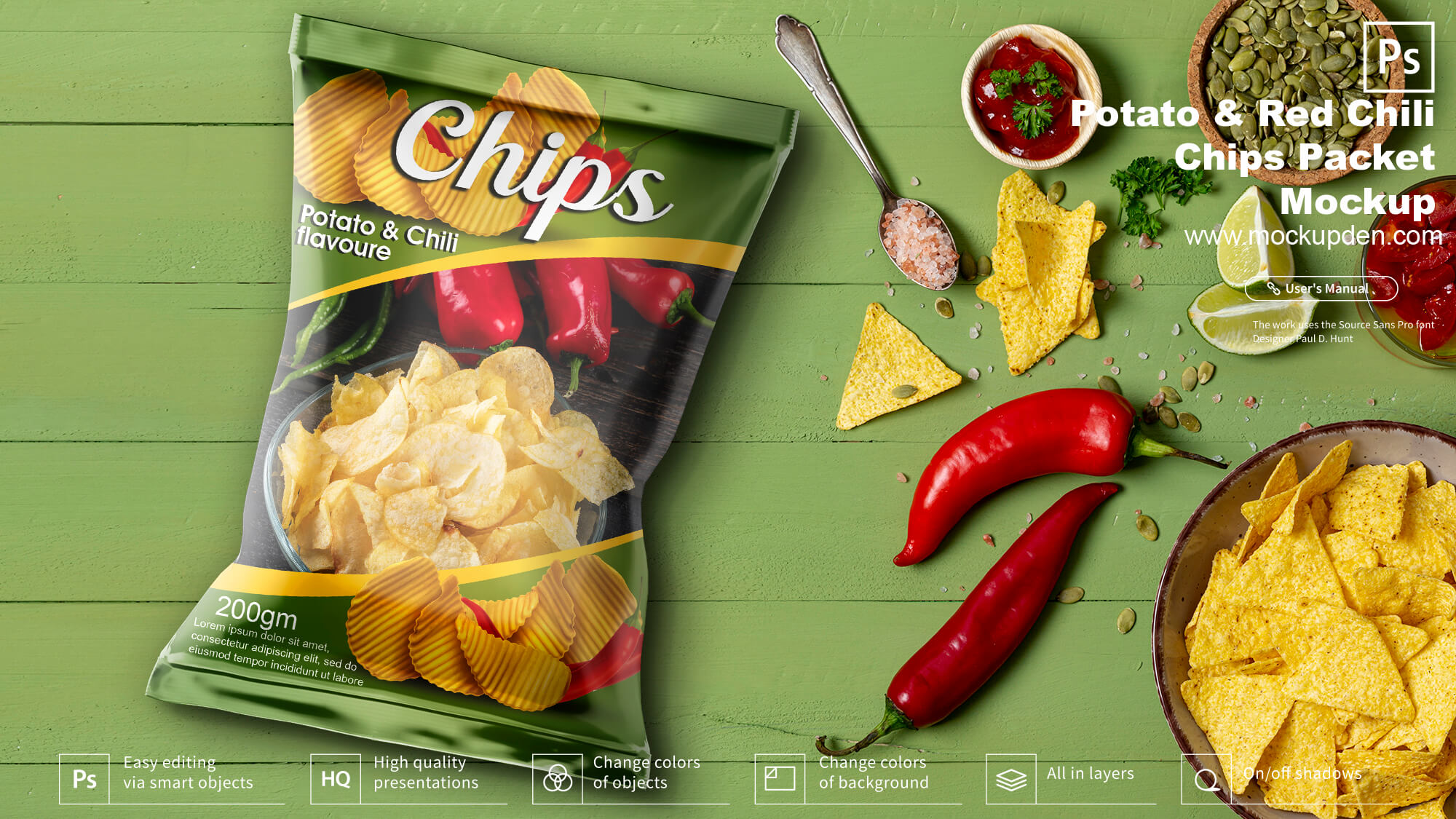 Free Chili Potato Chips Packet Mockup