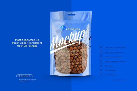 Coffee Beans Packaging Plastic Standup Pouch Mockup