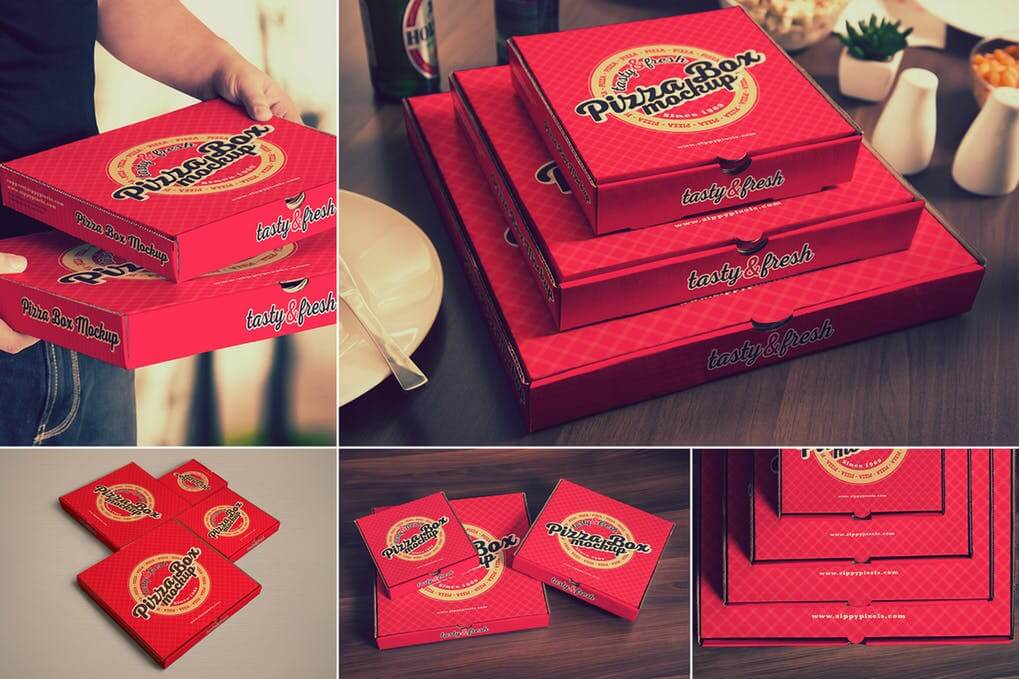 Collection Of Multi-sized Red Pizza Box