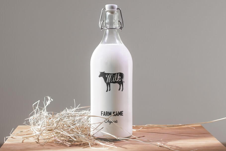 Cow Printed On A Milk Bottle Mockup