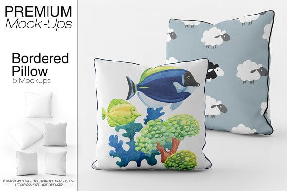 Cushion with Fish and Sheep Print Mockup