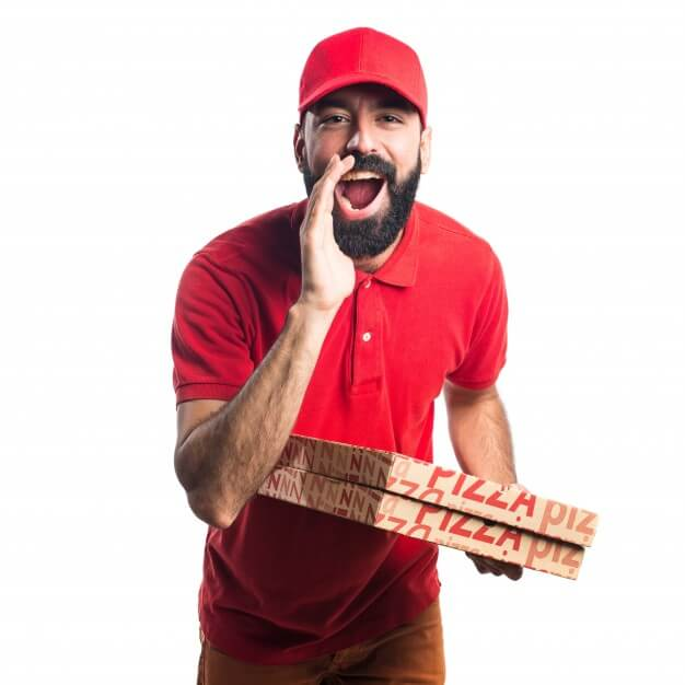 Delivery Guywith a Pizza Boxes in Hand Mockup