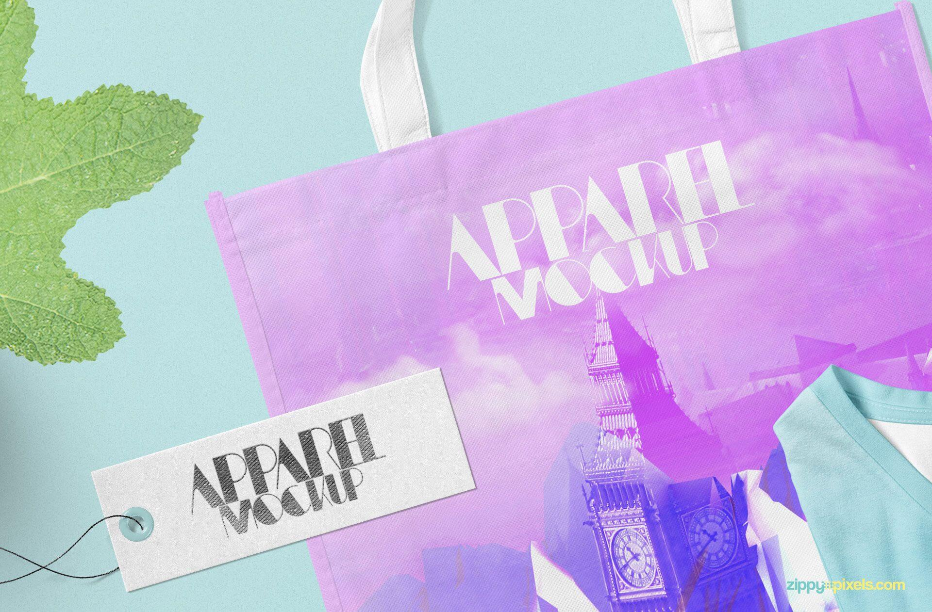 Design Printed On Tote Bag PSD