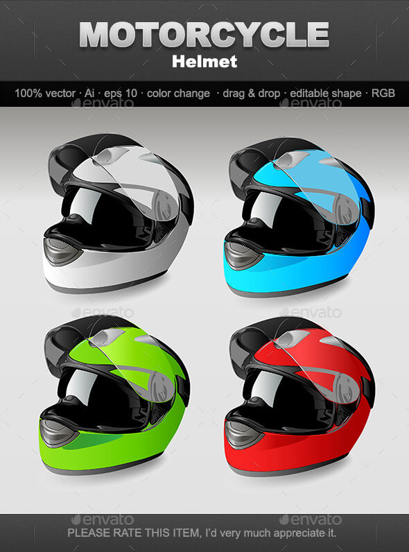Different Colors Of Motorcycle Helmet PSD Mockup