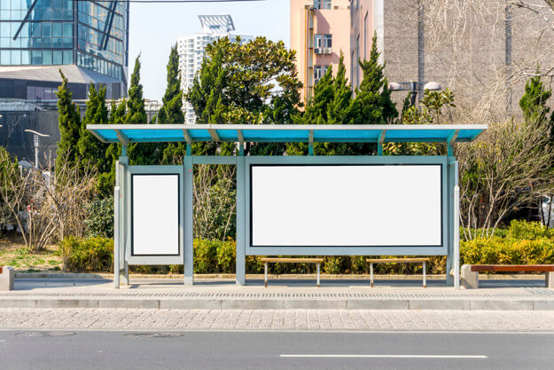 Editable Poster On Bus Stop Mockup