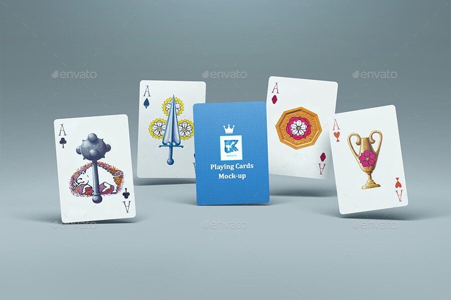 FIVE BLUE PLAYING CARDS MOCKUP
