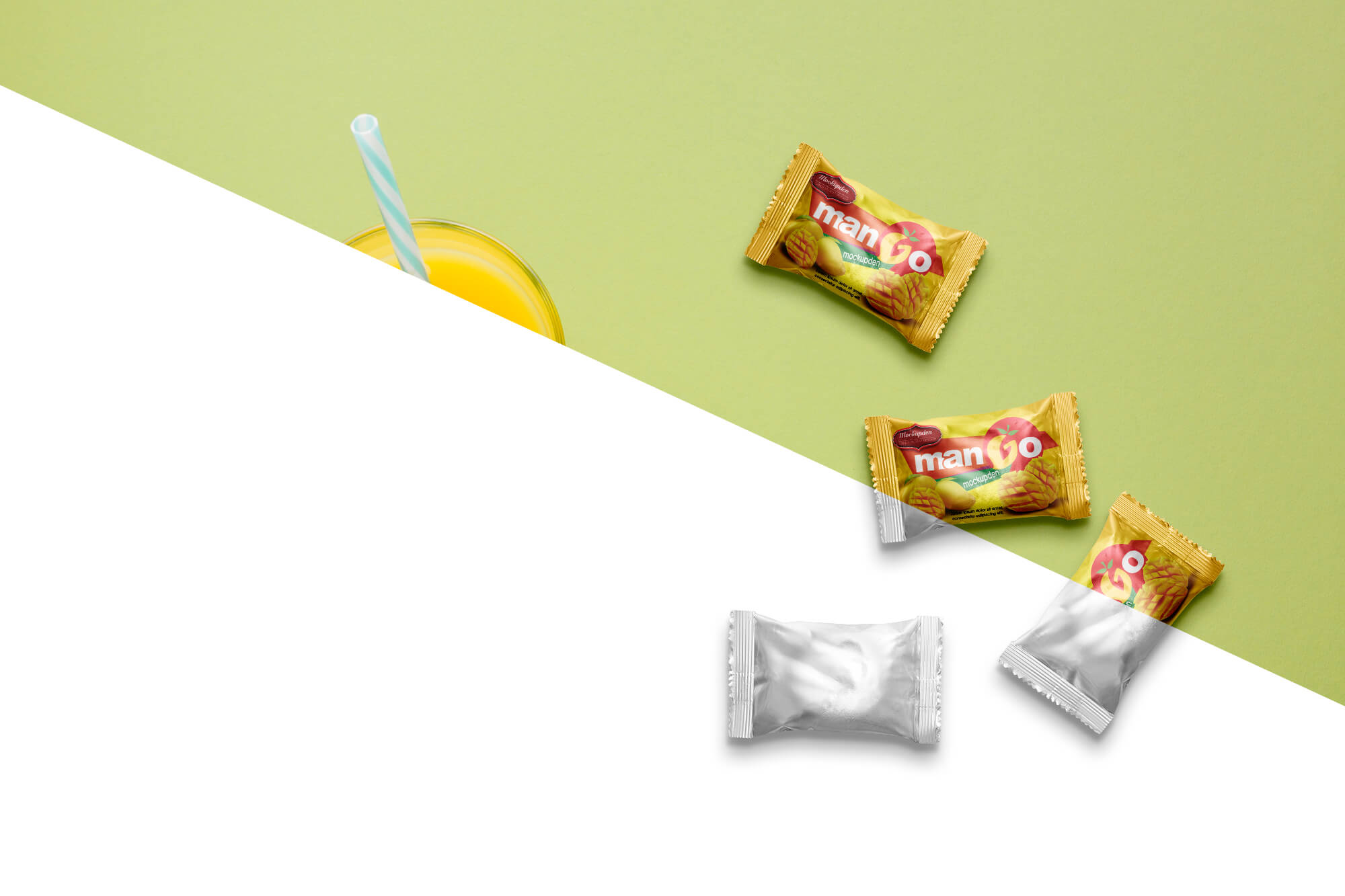 Free Candy Wrapper Mockup PSD Template