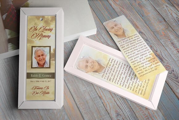 Funeral Bookmark PSD Design template: