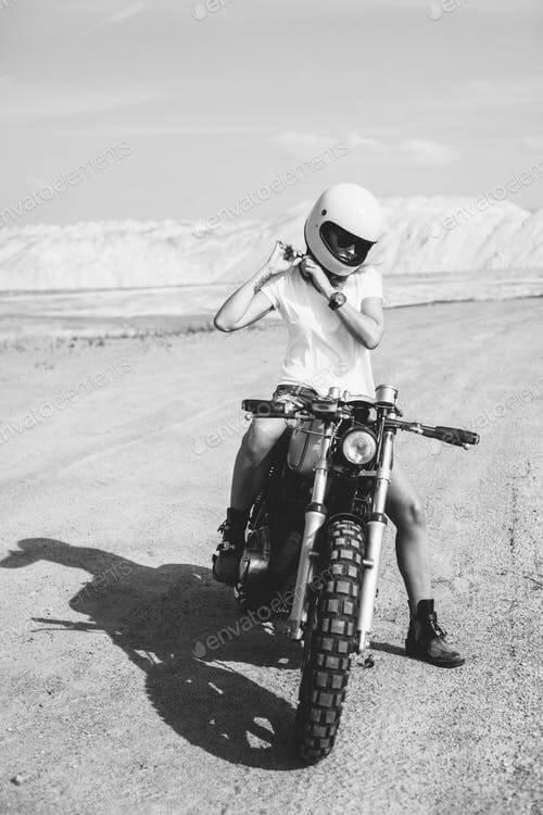Girl Wearing Helmet On Her Bike Mockup