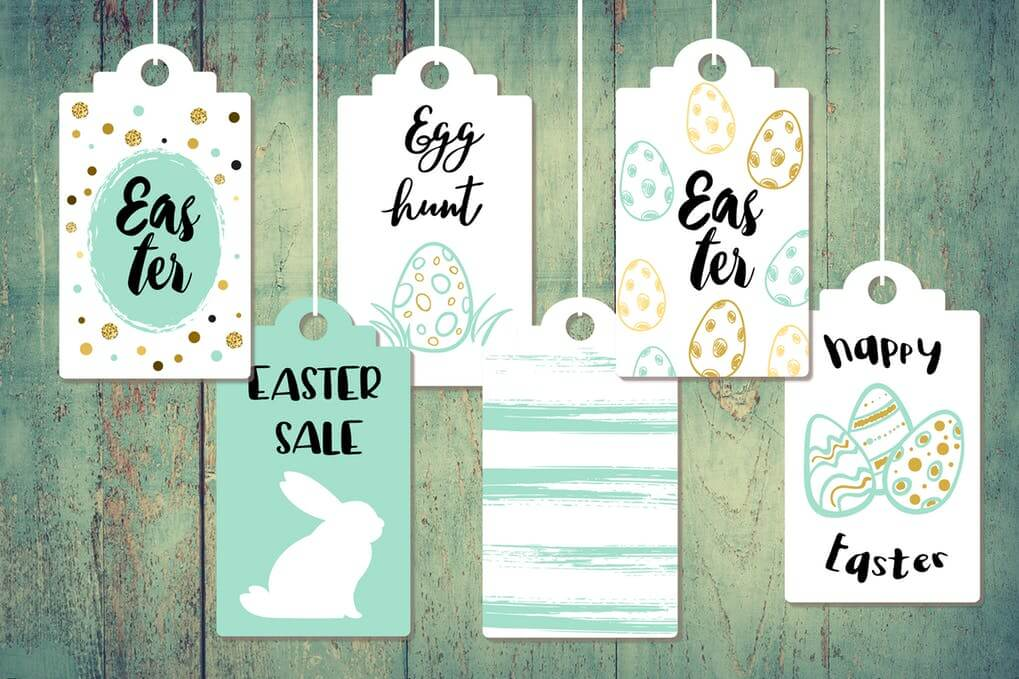 Green And White Color Easter Tag Mockup
