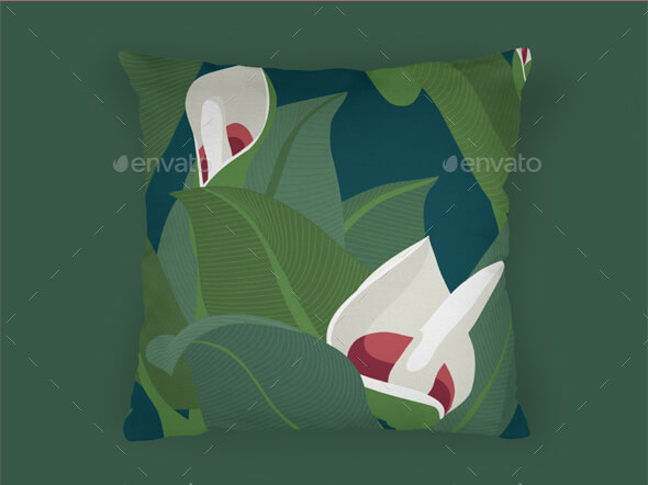 Green Floral Print Cushion PSD
