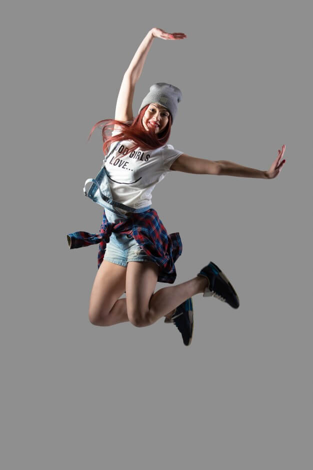 Happy Girl Jumping In A Transparent Background Mockup