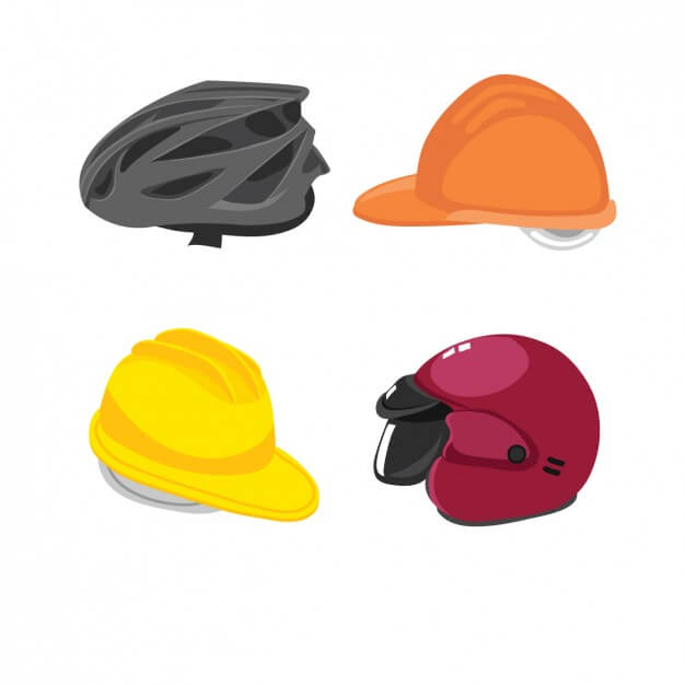 Helmets For Bikers And Motorcyclist Vector Illustration